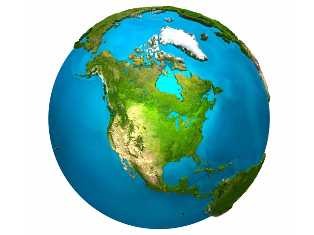 North America on the globe